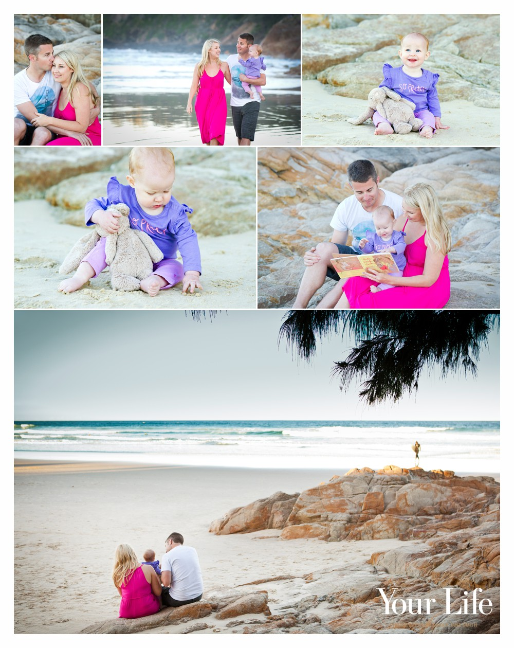 Family photos on Coolum Boardwalk